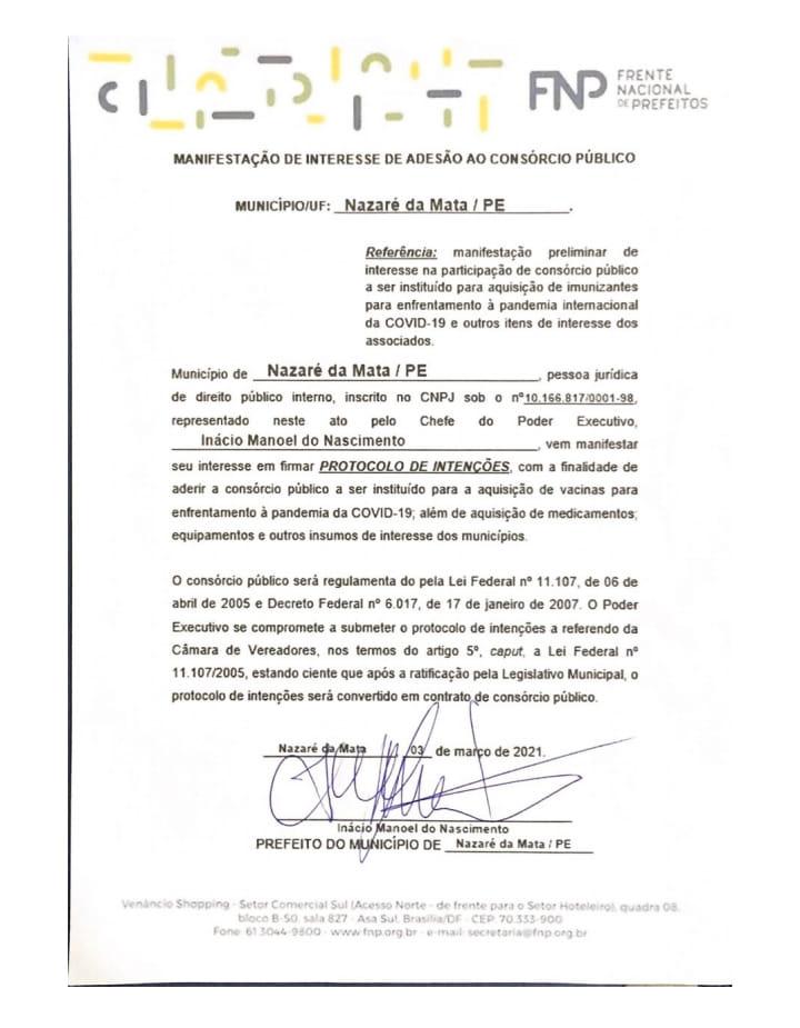 Prefeito Nino assina protocolo para aderir a consórcio de compra de vacinas contra a Covid-19 para a população