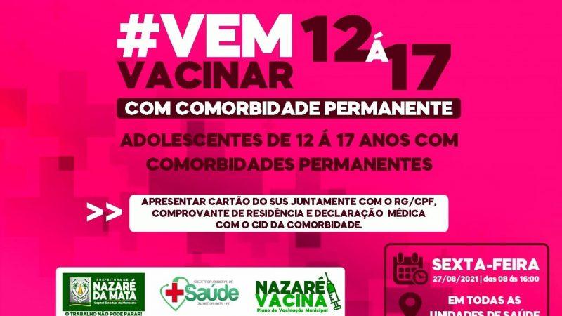 ATENÇÃO ADOLESCENTES DE 12 Á 17 ANOS COM COMORBIDADES PERMANENTES